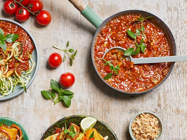 Vegan Mushroom and Lentil Bolognaise with Baby Marrow Noodles