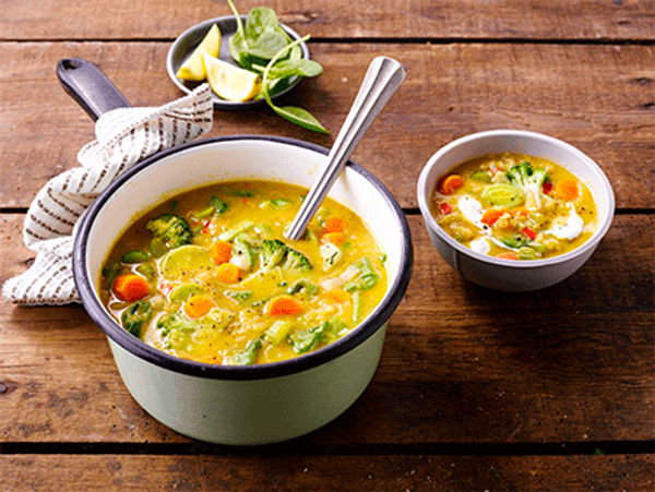 Spiced Vegetable Soup with Red Lentils