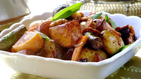 Festive Roast Vegetables with Dates and Pecan Nuts
