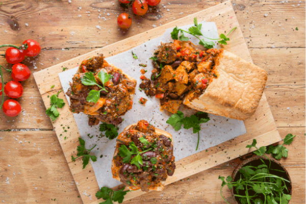 Quick Bean and Lentil Bunny Chow