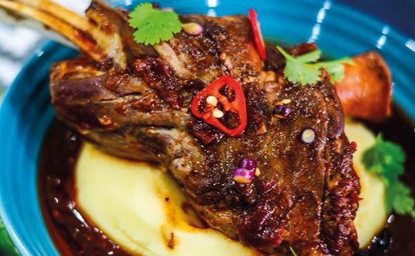 Asian-Style Lamb Shanks with Garlic and Herb Mash
