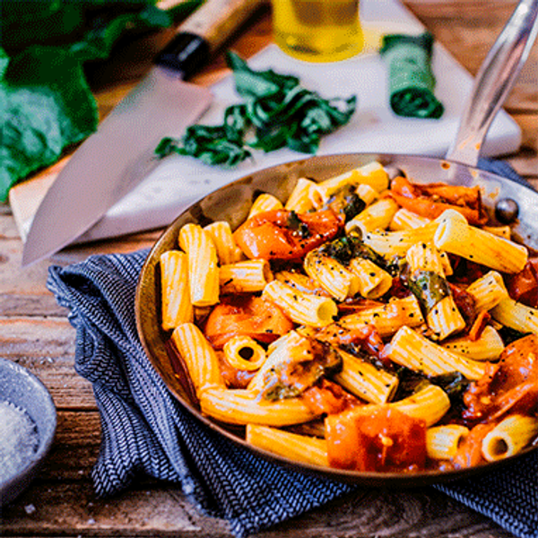 Rigatoni with Roasted Tomato and Pumpkin Leaf Sauce