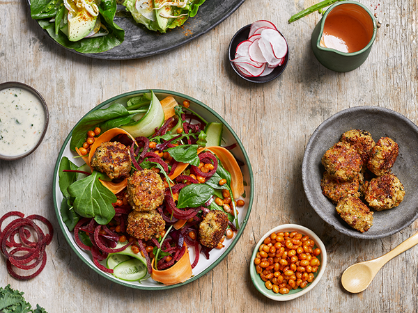 Bambara Groundnut Falafel Salad with a Garlic and Herb Dressing