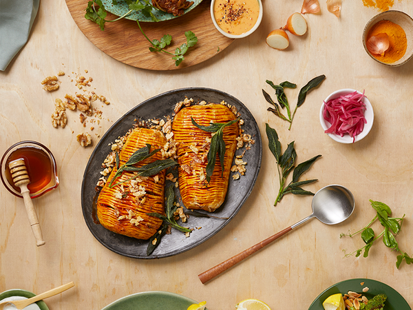 Hasselback Butternut With Blue Cheese, Walnuts, Honey and Crispy Sage
