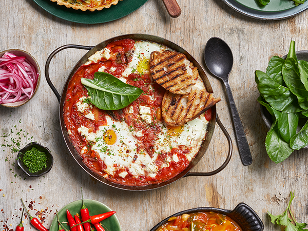 Shakshuka with Spinach and Beans