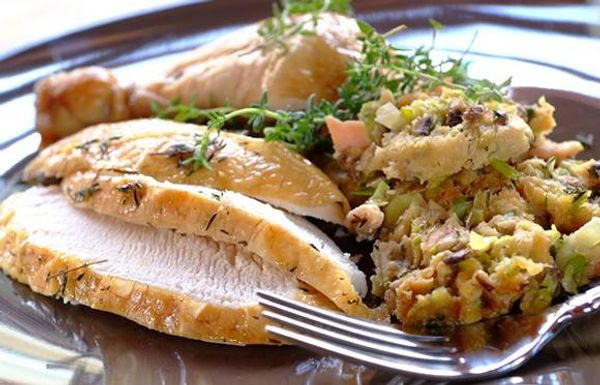 Roast Chicken with a Mushroom and Bacon Stuffing