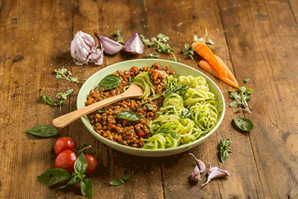 Lentil Bolognaise with Zucchini Noodles