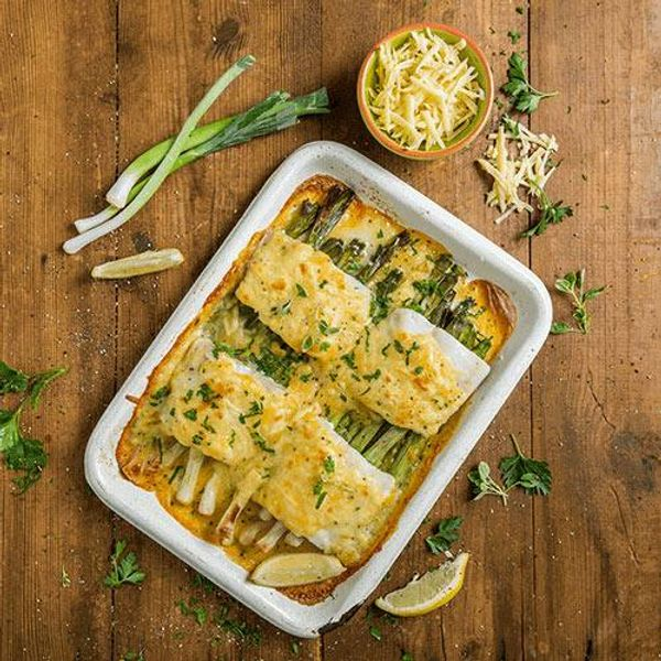 Creamy Leek & Hake Bake with Three Cheese Sauce