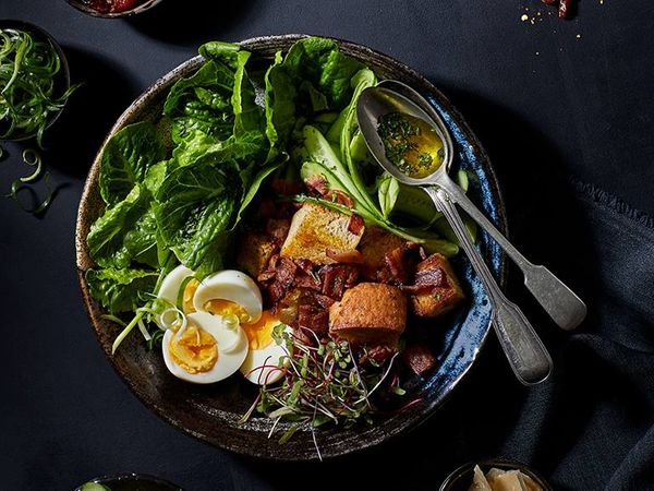 Bacon Caesar Salad with a Bokkom Caesar Dressing