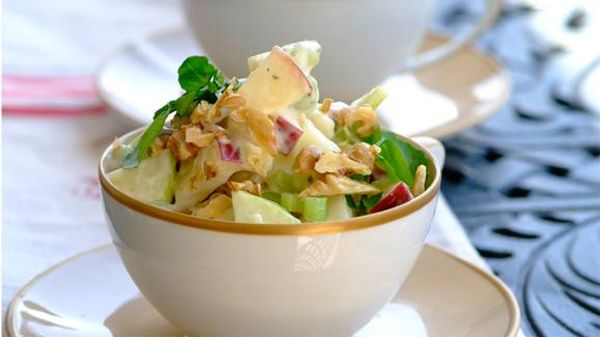 Waldorf-style salad with tangy yoghurt and herb dressing