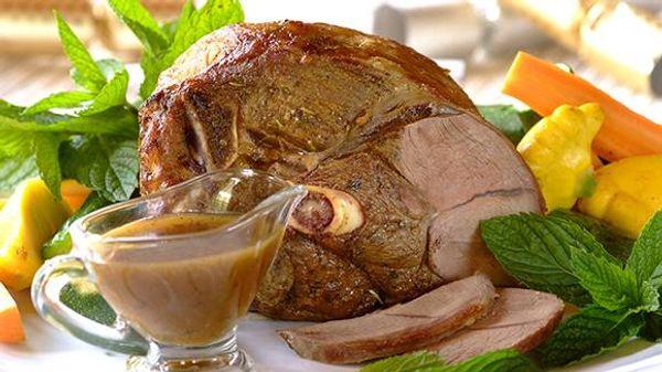 Roast Lamb with Mint and Rosemary Gravy