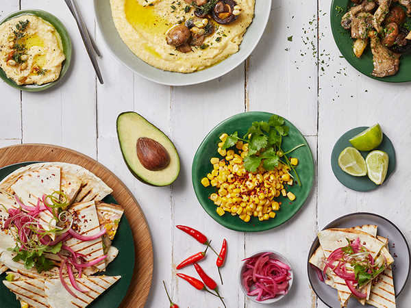 Chicken, Corn and Avocado Quesadillas