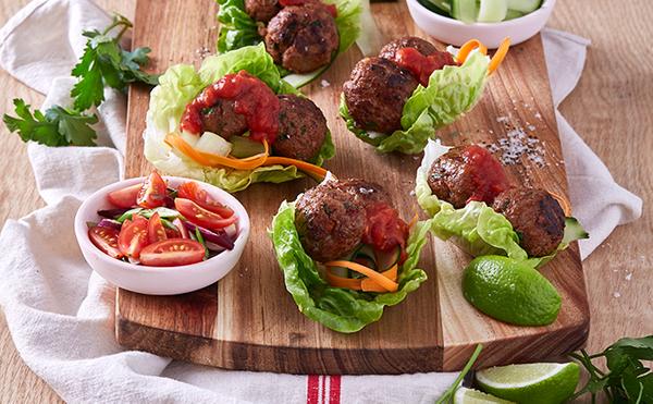Crunchy Meatball Lettuce Wraps