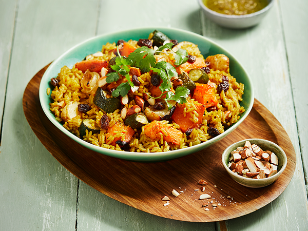 Spiced Roast Vegetable and Rice Salad with Raisins and Almonds