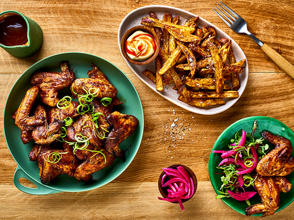 Sticky Barbecue Chicken Wings With Sweet Potato Fries