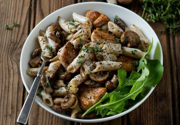 Chicken and Mushroom Penne in a Creamy Mustard Sauce