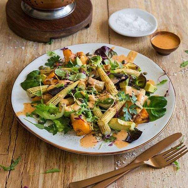 Roasted Butternut, Baby Corn and Avo Salad