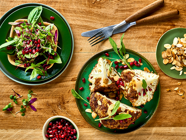 Whole Roasted Cauliflower With Almonds, Sage And Pomegranate Seeds
