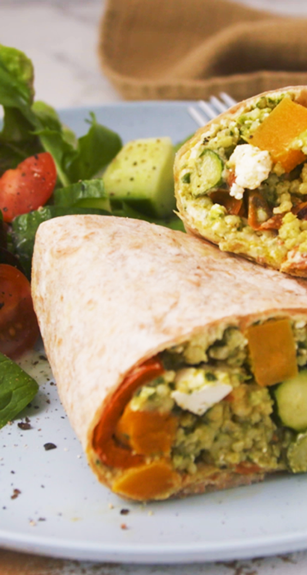 Pesto and Feta Roast Vegetable Wrap