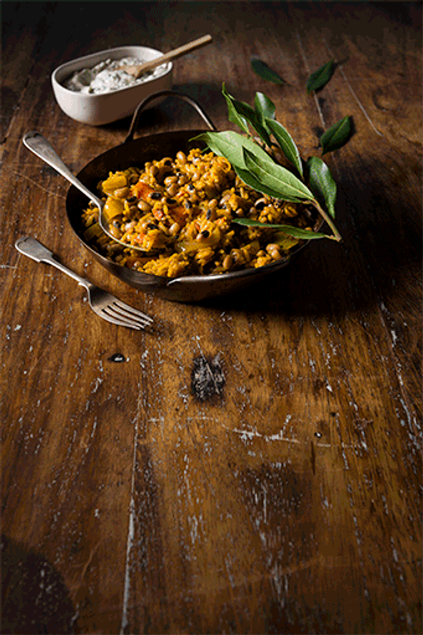 Cowpea Pilaf served with Herb and Garlic Yoghurt