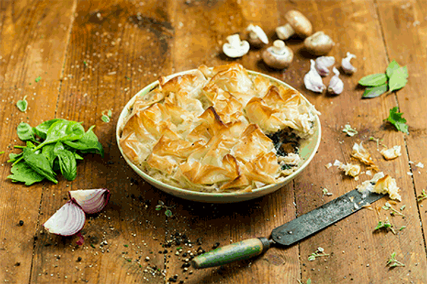 Mushroom and Spinach Filo Pie