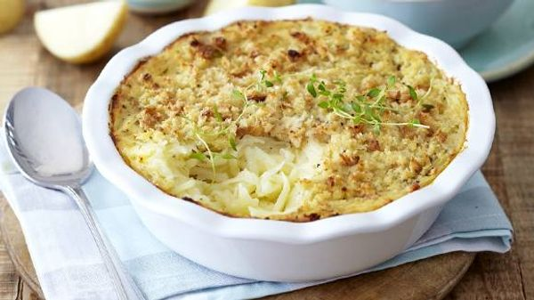 Grated Potato Bake with a Crumb Topping