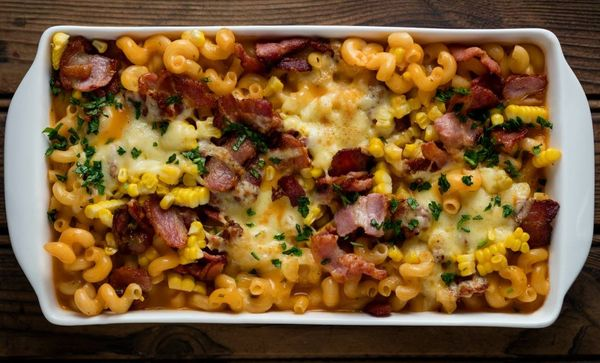Bacon, Cheese And Corn Pasta Bake