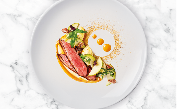 Duck with Pear, Gorgonzola and Honey Mustard Dressing
