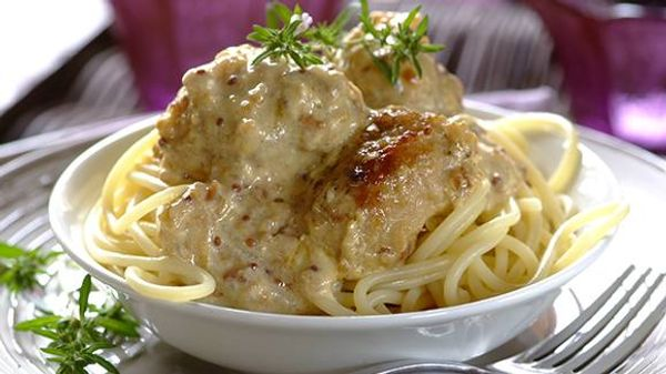 Pasta with Cream Cheese and Pork-Sausage Meatballs