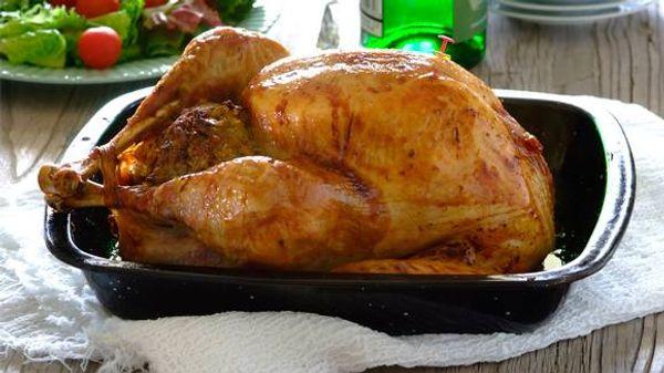 Roast turkey with pork, sage and apple stuffing