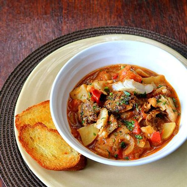 Spicy Hake Stew with Garlic Toasts