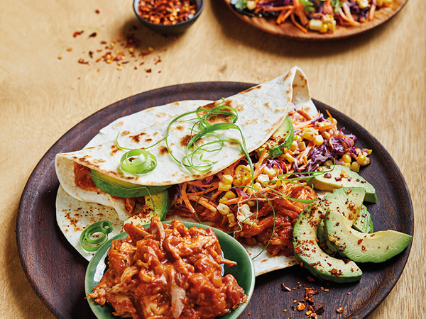 Mexican Chicken Tinga Tortillas with Red Cabbage and Charred Corn Slaw
