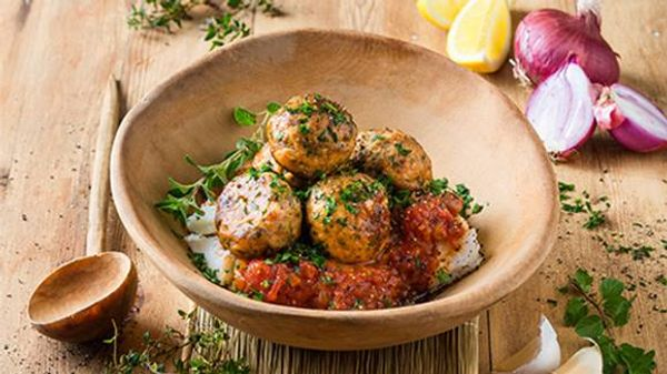 Moroccan Chicken Meatballs with Tomato Gravy and Pap