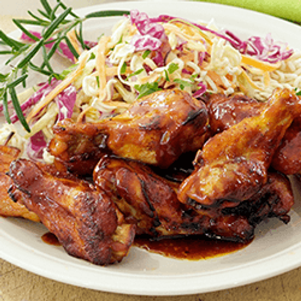 Honey Barbeque Drumettes with Crunchy Coleslaw