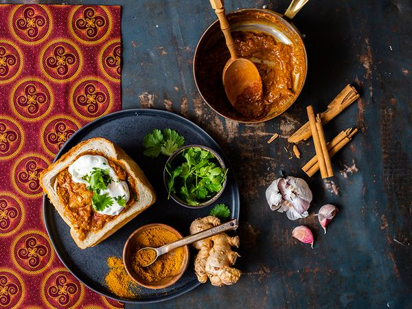 Curried Chicken Liver Bunny Chow