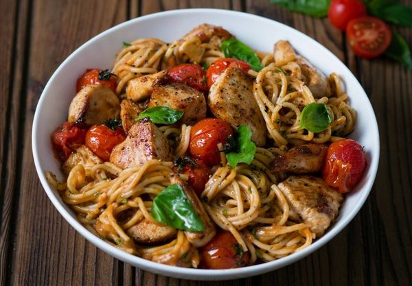 Creamy Chicken and Tomato Pasta with Basil