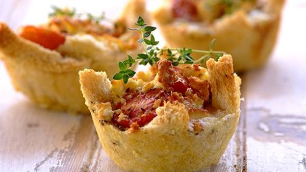 Bread Basket Tartlets with Smoked Chicken and Feta