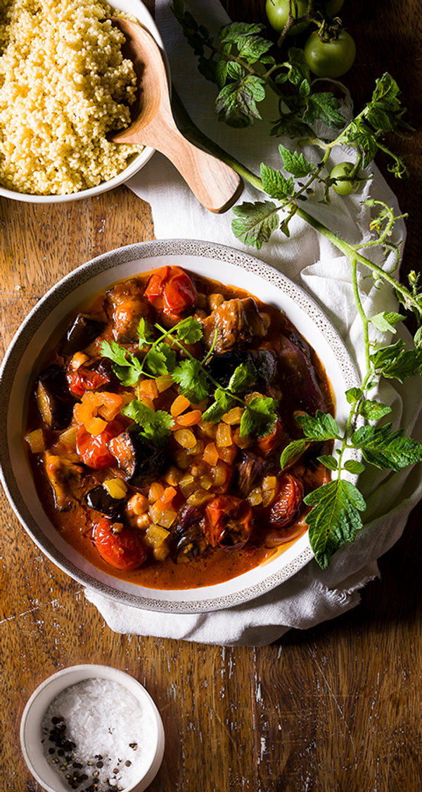 Aromatic Aubergine, Apricot and Chickpea Tagine with Millet