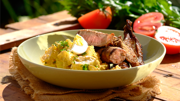 Shisa nyama with spicy potato salad