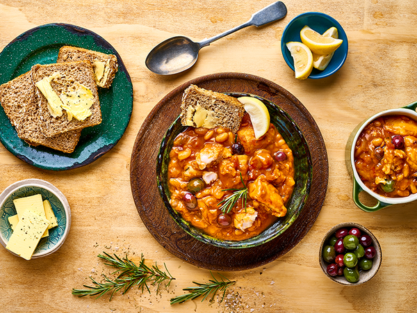Fish Stew with Cannellini Beans, Lemon, Rosemary and Olives