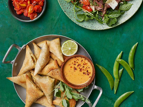 Baked Sweet Potato and Pea Samoosas with a Sweet Chilli Dipping Sauce