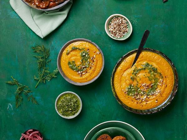 Roasted Carrot Soup with Carrot-Top Pesto