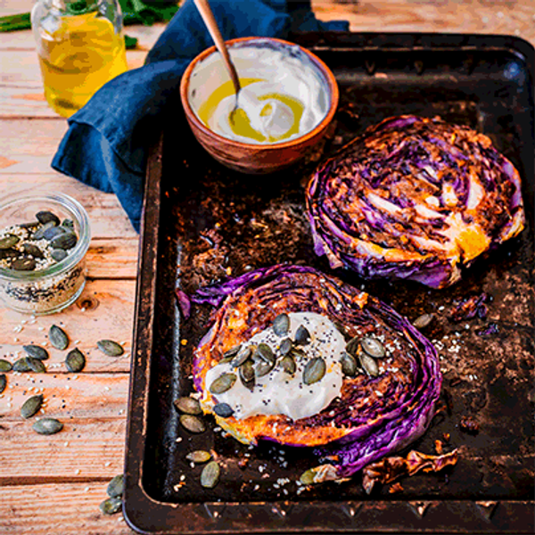 Chakalaka Roasted Red Cabbage Steaks with Mixed Seeds