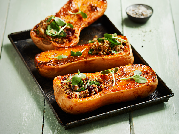 Roasted Butternut Stuffed with Quinoa, Spinach and Mushrooms