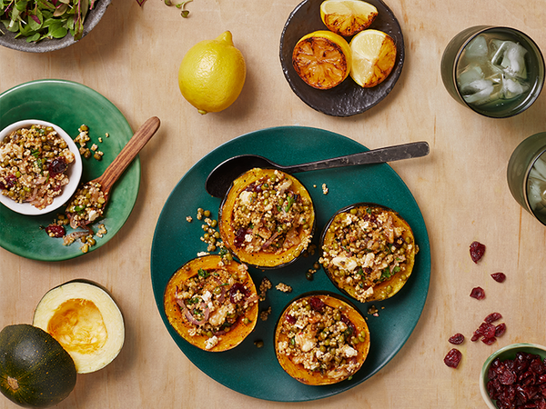 Millet-stuffed Gem Squash with Mung Beans, Walnuts and Feta