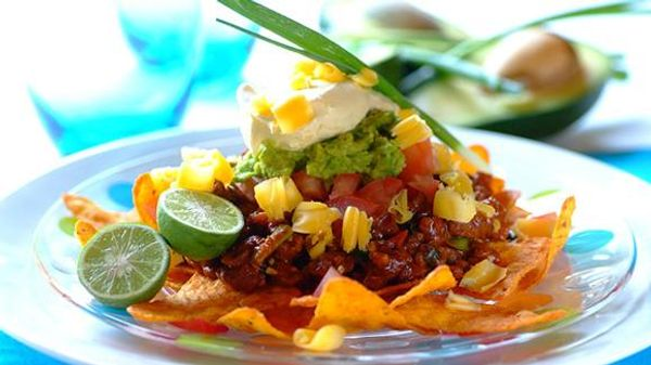Mexican-Style Nachos with Ostrich Mince