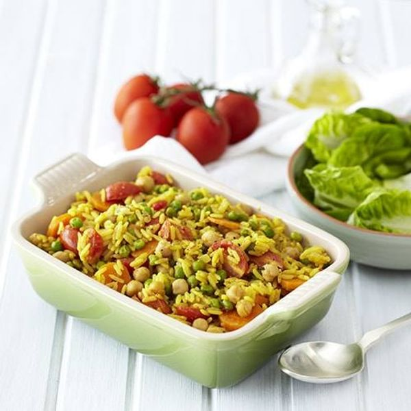 Quick Vegetable and Chickpea Breyani