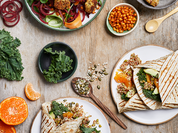 Mung Bean, Quinoa and Kale Wraps