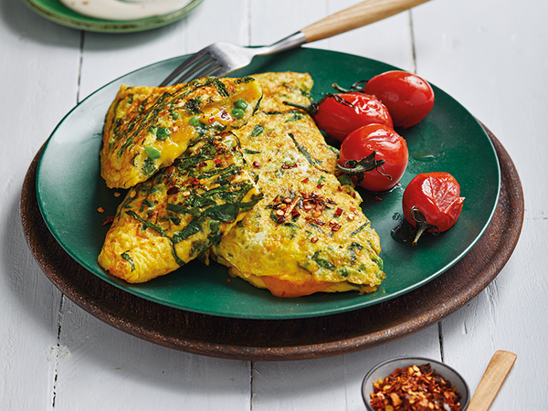 Broccoli, Spinach and Pea Omelette with Blue Cheese Dressing