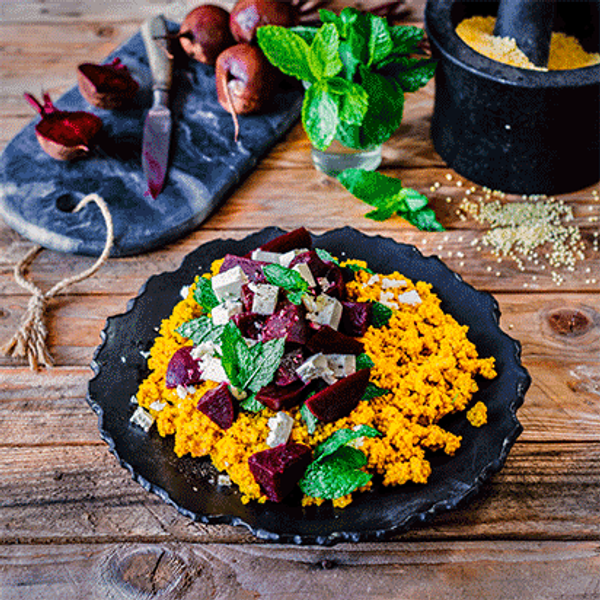 Tumeric Millet Pilaf with Pickled Beetroot, Mint and Feta
